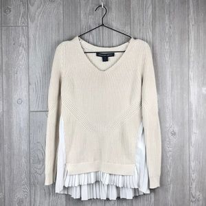 French Connection Tan/White ruffle bottom sweater